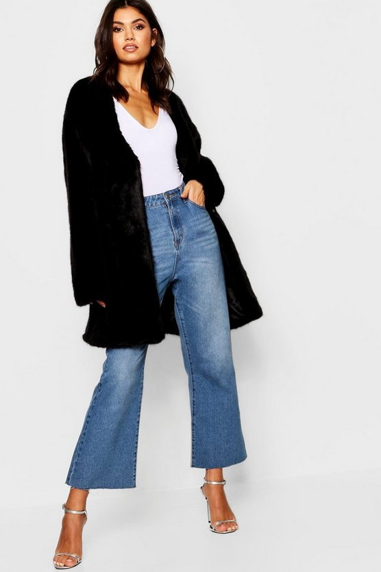 Luxe Collarless Faux Fur Coat