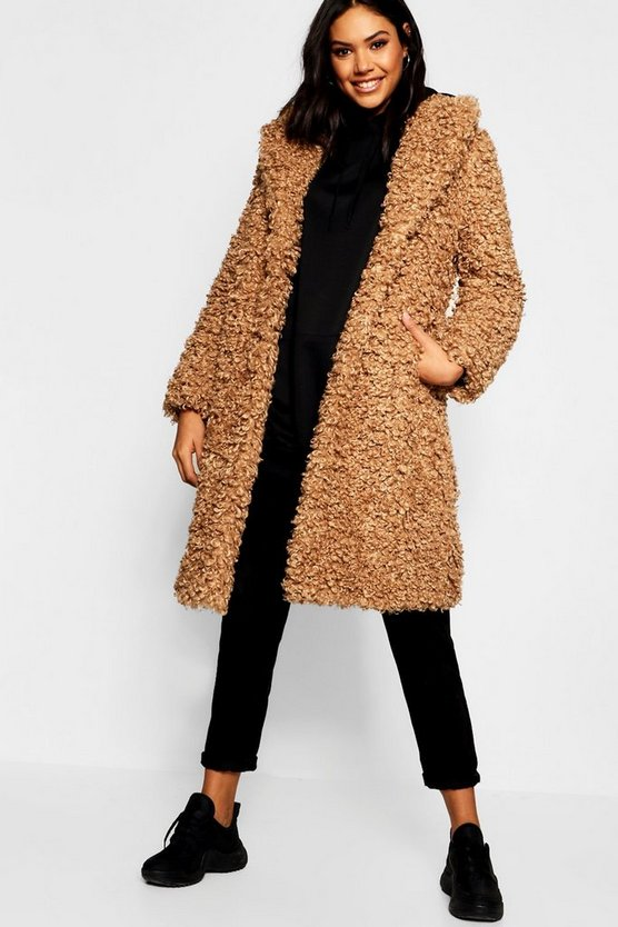 Premium Teddy Faux Fur Longline Coat
