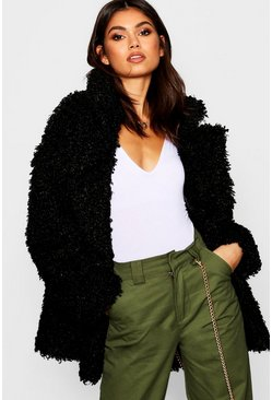 Womens Black Premium Teddy Faux Fur Collared Coat