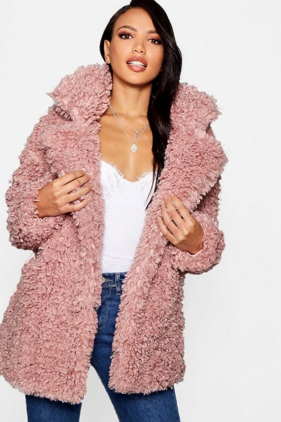 Premium Teddy Faux Fur Collared Coat