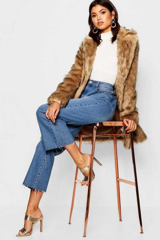 Womens Natural Faux Fur Coat