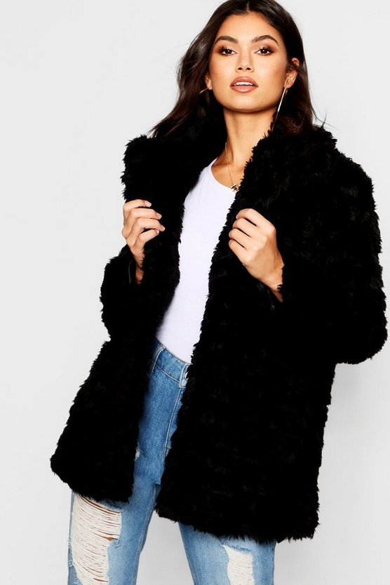 Womens Black Textured Collared Faux Fur Coat