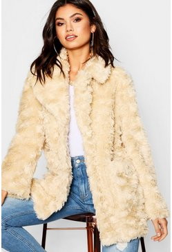Womens Cream Textured Collared Faux Fur Coat