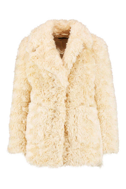 con cuello sintética Abrigo texturizado crema piel de BEOxqnx5