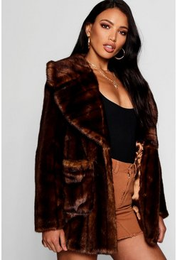 Womens Brown Vintage Style Faux Fur Coat