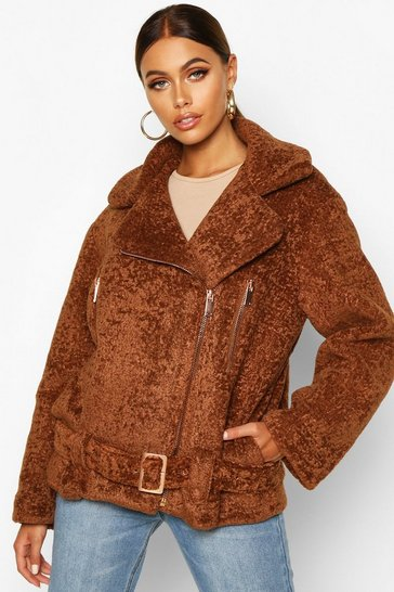 Womens Cumin Premium Faux Fur Aviator
