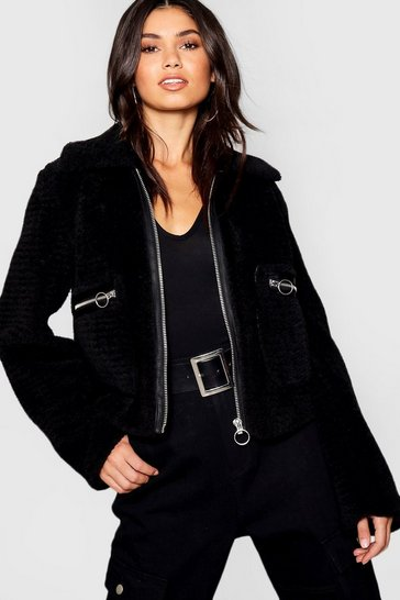 Womens Black Teddy Faux Fur Trucker Coat