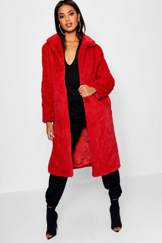 Womens Red Maxi Soft Faux Fur Coat