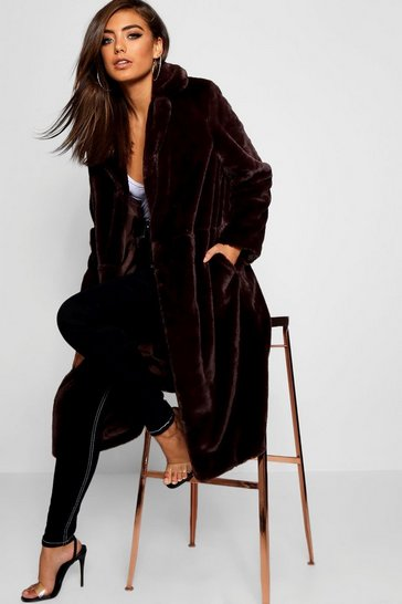 Womens Chocolate Maxi Soft Faux Fur Coat