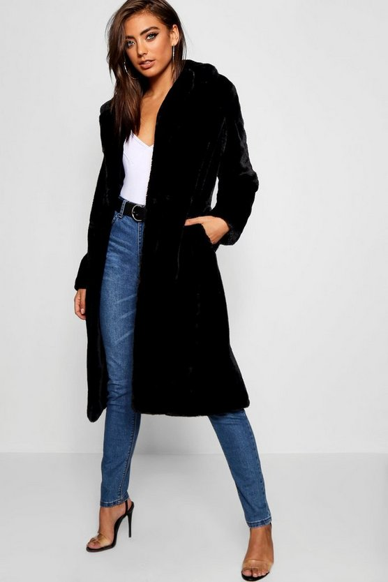 Womens Black Maxi Soft Faux Fur Coat