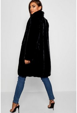 Womens Black Faux Fur Coat