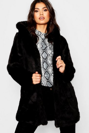 Womens Black Luxe Hooded Faux Fur Coat