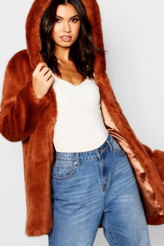 Womens Brown Luxe Hooded Faux Fur Coat