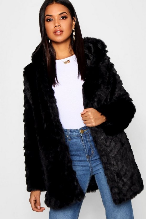 Black Textured Hooded Faux Fur Coat