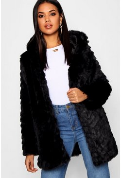 Womens Black Textured Hooded Faux Fur Coat