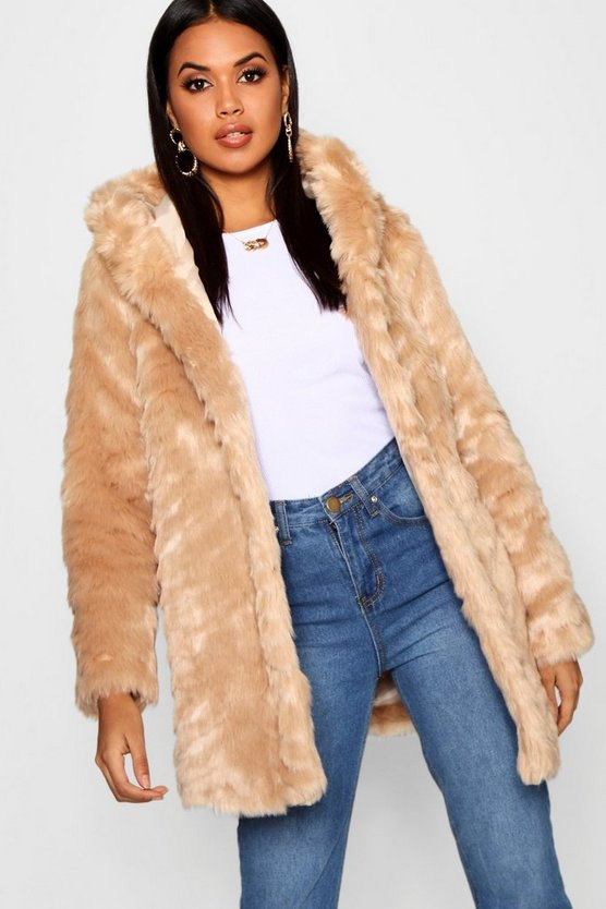Textured Hooded Faux Fur Coat
