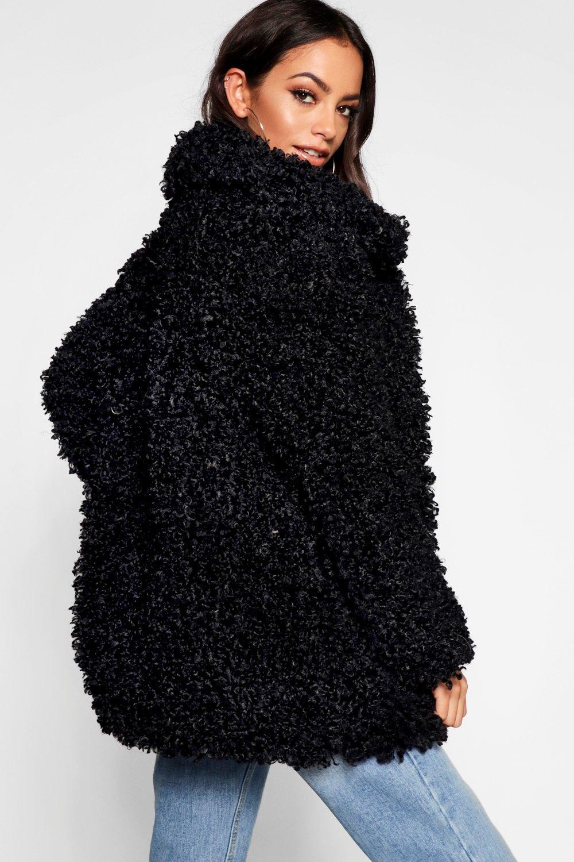 negro de pelo de Abrigo peluche Sumaiya premium EFnxYYBw