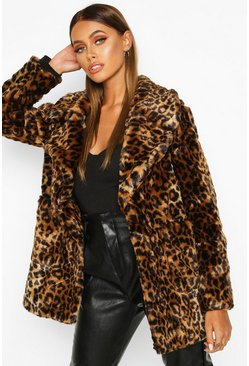 Womens Leopard Faux Fur Coat