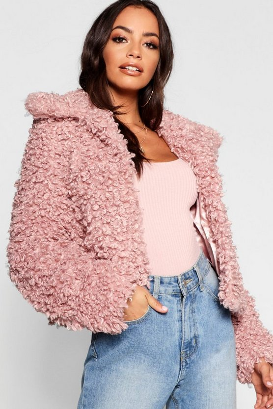 Womens Pink Premium Teddy Faux Fur Crop Coat
