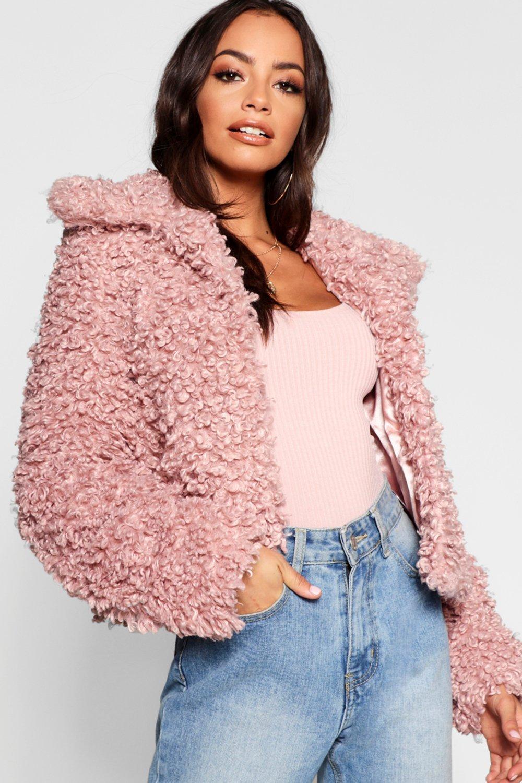 rosa pelo de peluche premium Abrigo corto de xzwgqaTZ0v