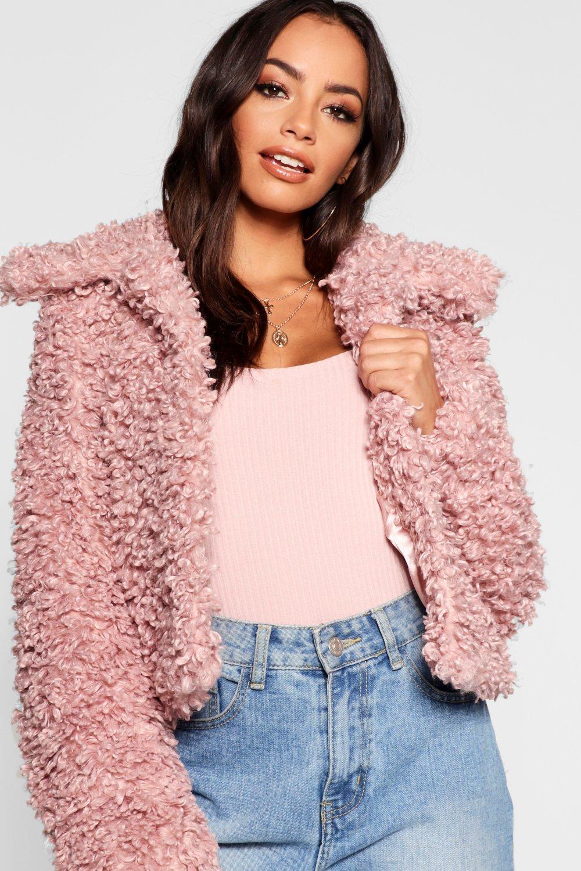 pelo de premium Abrigo peluche de rosa corto RBOw1qP