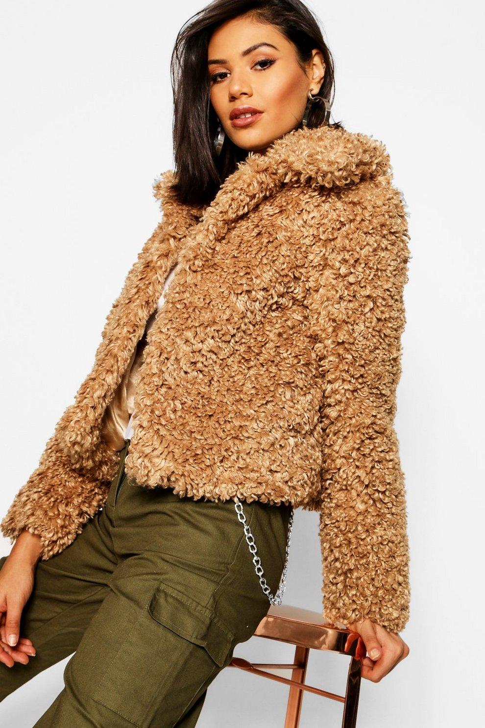 8942f82a55918 Premium Teddy Faux Fur Crop Coat   Boohoo