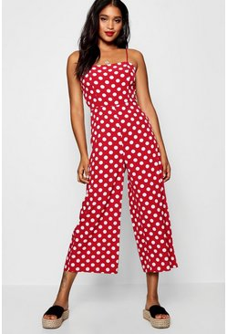 Womens Polka Dot Square Neck Jumpsuit