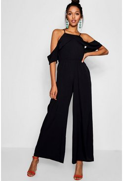 Womens Black Cold Shoulder Jumpsuit