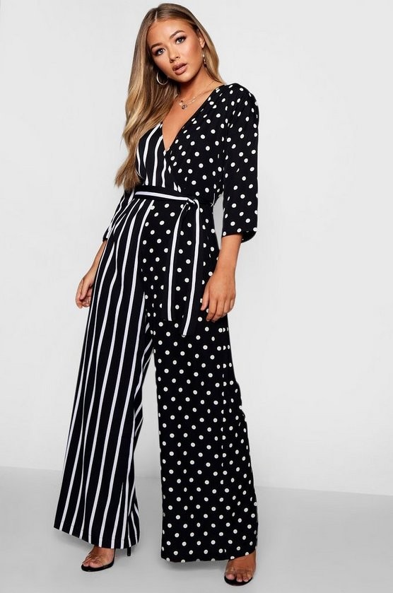 Womens Black Wrap Tie Belt Jumpsuit In Polka Dot