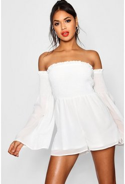 White Brinley Bardot Sheared Waist Playsuit