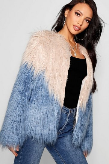 Womens Blue Two Tone Mongolian Faux Fur Coat
