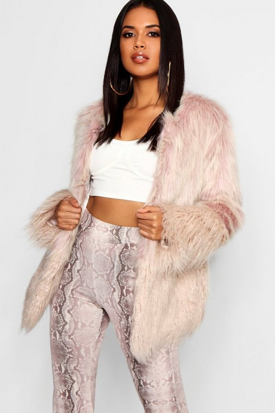 Womens Natural Mixed Faux Fur Coat