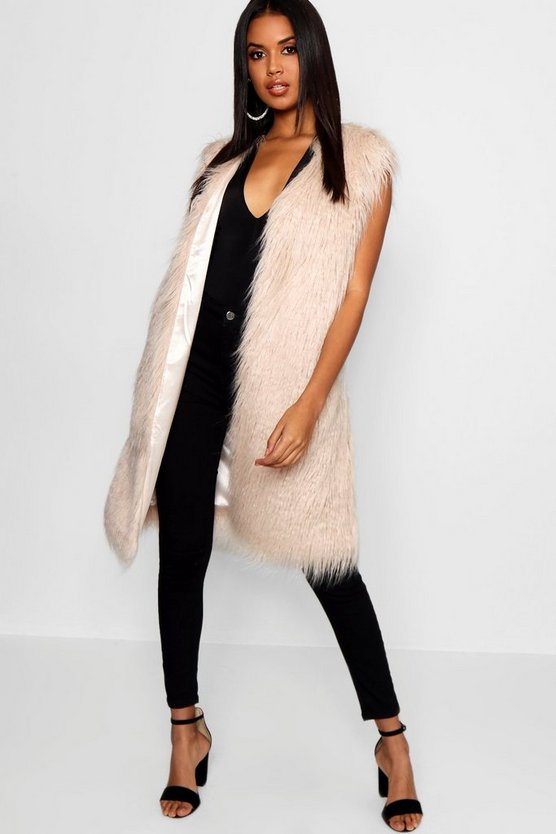 Womens Natural Mongolian Faux Fur Gilet