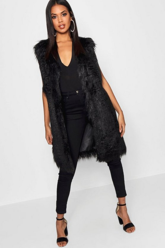 Womens Black Mongolian Faux Fur Gilet