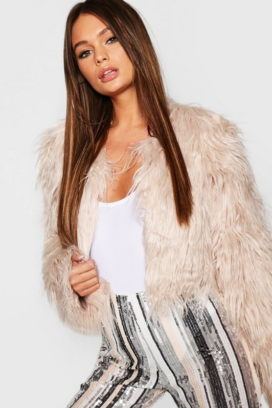 Womens Natural Crop Shaggy Faux Fur Coat