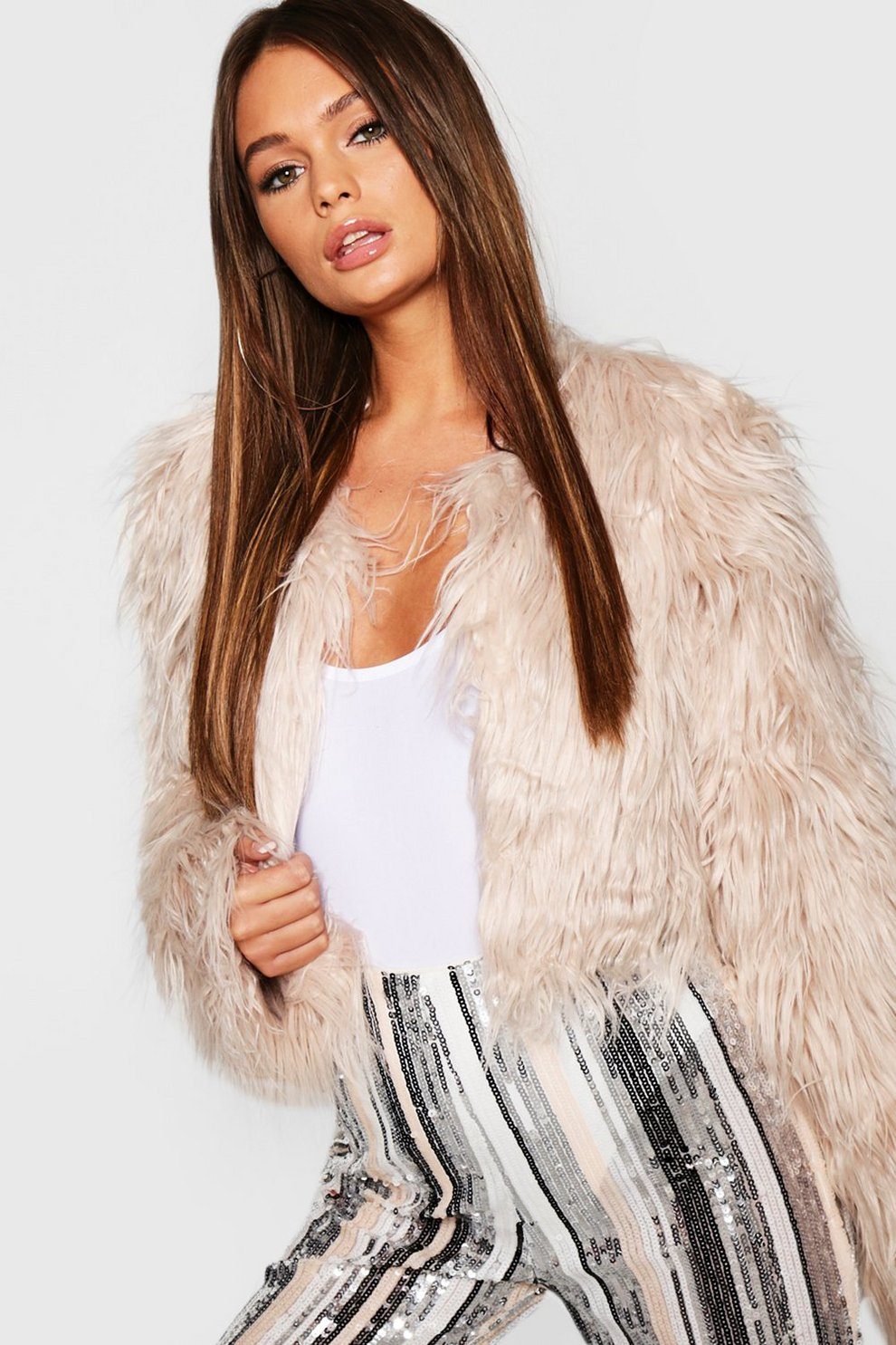 1529d7556a53 Crop Shaggy Faux Fur Coat