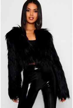 Black Crop Shaggy Faux Fur Coat
