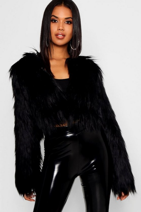 Womens Black Crop Shaggy Faux Fur Coat