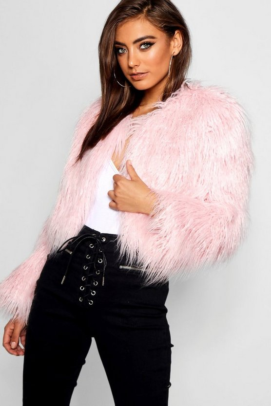 Womens Pink Crop Mongolian Faux Fur Coat