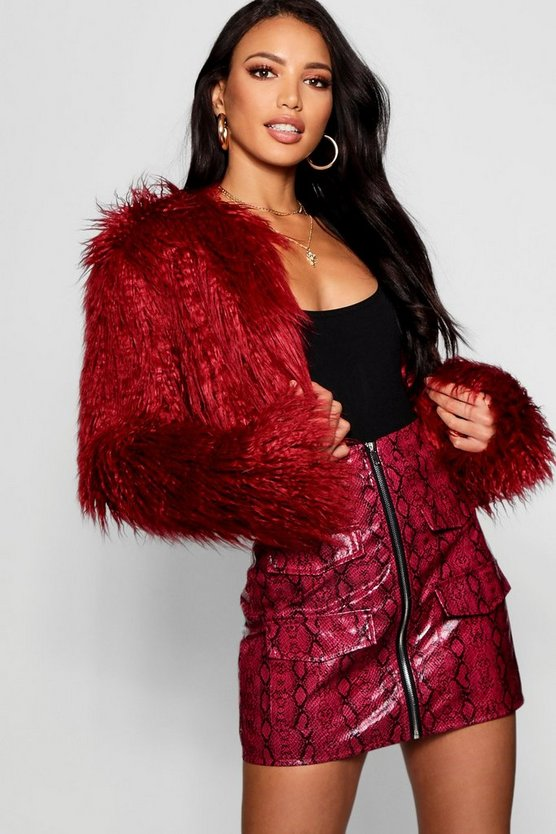 Womens Berry Crop Mongolian Faux Fur Coat
