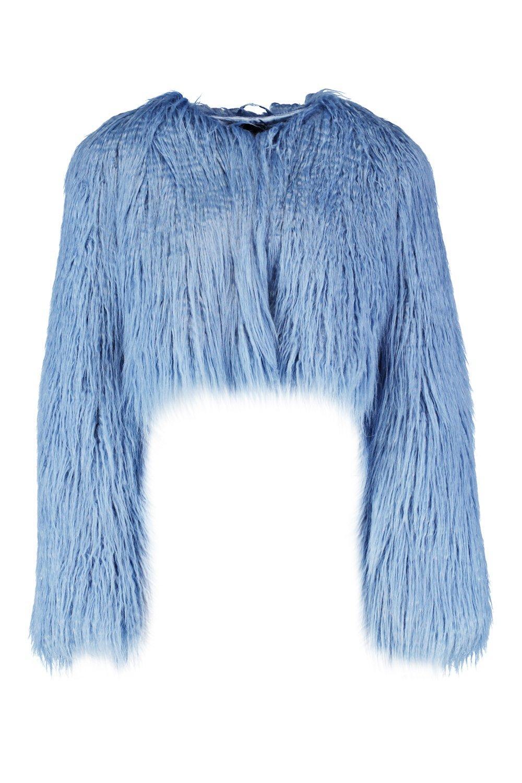 sintética de piel antiguo azul corto Abrigo w87q6U5