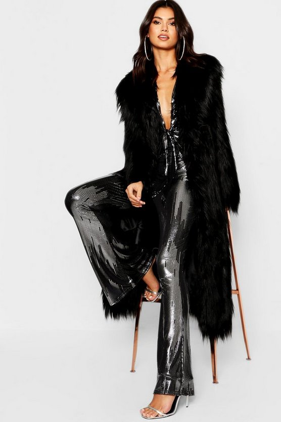 Womens Black Maxi Mongolian Faux Fur Coat