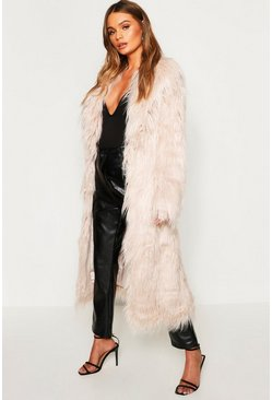 Womens Natural Maxi Mongolian Faux Fur Coat
