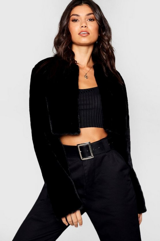 Womens Black Crop Faux Fur Coat