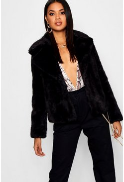 Womens Black Luxe Faux Fur Coat