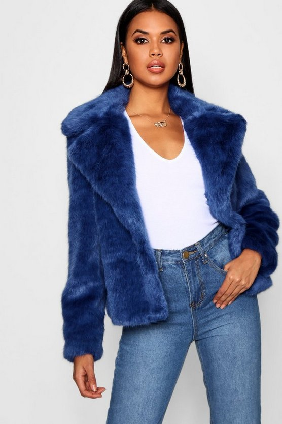 Womens Dark blue Luxe Faux Fur Coat