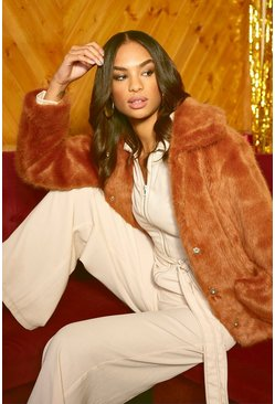 Womens Brown Luxe Collared Faux Fur Coat