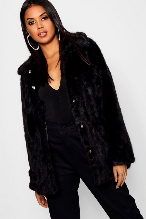 Womens Black Luxe Collared Faux Fur Coat