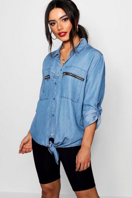Utility Pocket Oversized Denim Shirt