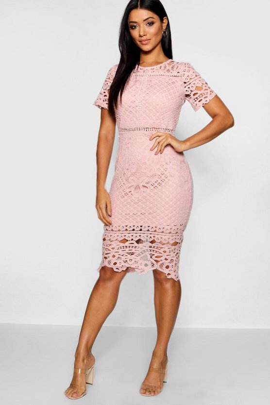 Womens Blush Lace Panelled Cap Sleeve Midi Dress